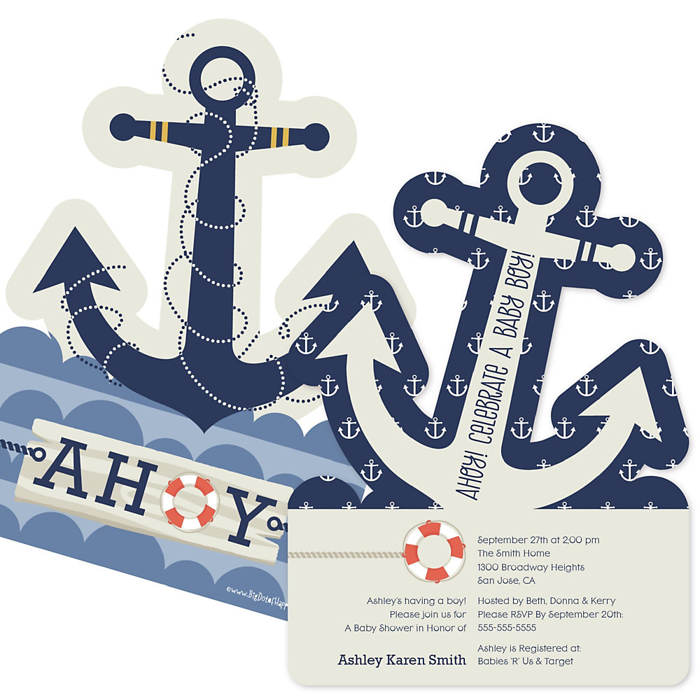ahoy  nautical  shaped baby shower invitations, Baby shower