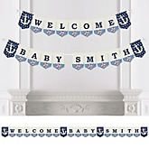 Ahoy - Nautical - Personalized Baby Shower Bunting Banner