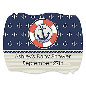Ahoy - Nautical - Personalized Baby Shower Squiggle Stickers - 16 ct