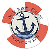 Ahoy - Nautical - Personalized Baby Shower Round Sticker Labels - 24 Count