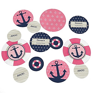 Ahoy - Nautical Girl - Personalized Baby Shower Table Confetti - 27 Count