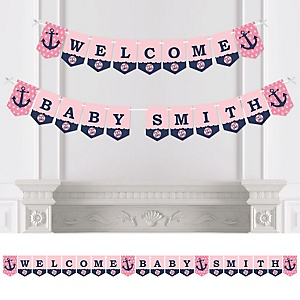 Ahoy - Nautical Girl - Personalized Baby Shower Bunting Banner
