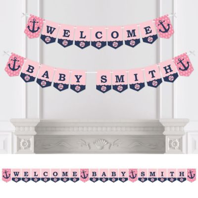 Ahoy   Nautical Girl   Personalized Party Bunting Banner U0026 Decorations