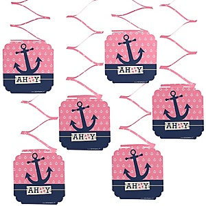Ahoy - Nautical Girl - Baby Shower Hanging Decorations - 6 Count