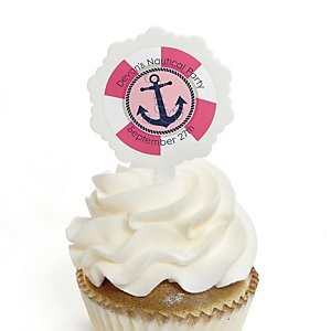 Ahoy - Nautical Girl - 12 Cupcake Picks & 24 Personalized Stickers - Baby Shower Cupcake Toppers