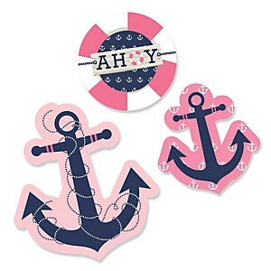 Ahoy - Nautical Girl - Shaped Baby Shower Paper Cut-Outs - 24 Count
