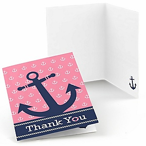Ahoy - Nautical Girl - Baby Shower Thank You Cards - Set of  8