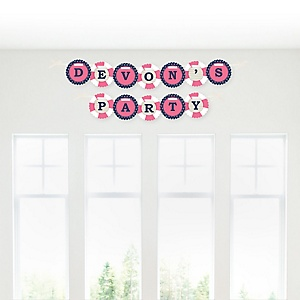Ahoy - Nautical Girl - Personalized Baby Shower Garland Banner