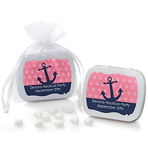 Ahoy - Nautical Girl - Mint Tin Personalized Baby Shower Favors