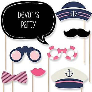 Ahoy - Nautical Girl - Baby Shower Photo Booth Props Kit - 20 Props