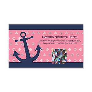 Ahoy - Nautical Girl - Personalized Baby Shower Scratch-Off Game – 22 Count