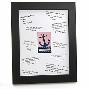 Ahoy - Nautical Girl - Personalized Baby Shower Print with Signature Mat