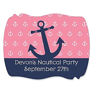 Ahoy - Nautical Girl - Personalized Baby Shower Squiggle Sticker Labels - 16 Count