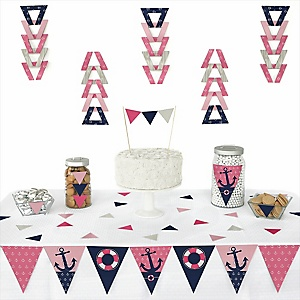 Ahoy - Nautical Girl - Baby Shower Triangle Decoration Kits - 72 Count