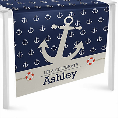 Runner      Table  Party runner table Ahoy nautical  Personalized  Nautical BigDotOfHappiness