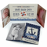 Ahoy - Nautical - Photo Birth Announcements