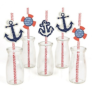 Ahoy - Nautical - Paper Straw Decor - Baby Shower or Birthday Party Striped Decorative Straws - Set of 24