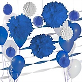 Dark Blue and White Decoration Kit for Baby Showers