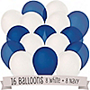 Navy and White - Birthday Party Latex Balloons - 16 ct