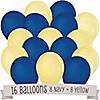 Navy and Yellow - Birthday Party Latex Balloons - 16 ct