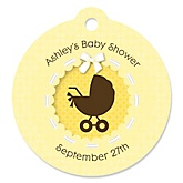 Neutral Baby Carriage - Personalized Baby Shower Round Tags - 20 Count