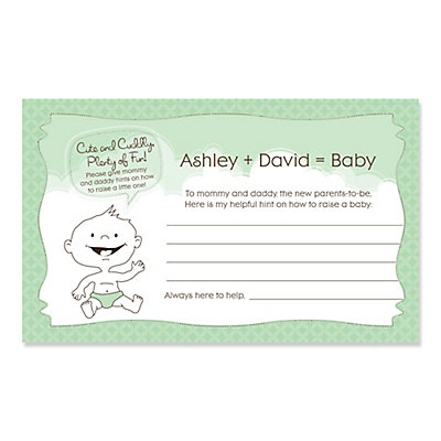 baby neutral personalized baby shower helpful hint advice cards 18