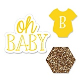 Baby Neutral - Shaped Baby Shower Paper Cut-Outs - 24 ct