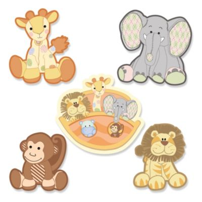 Noahu0027s Ark   Shaped Baby Shower Paper Cut Outs   24 Ct