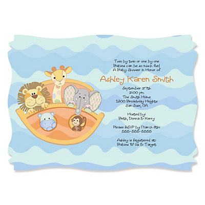 noah 39 s ark personalized baby shower invitations bigdotofhappiness