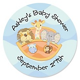 Noah's Ark - Personalized Baby Shower Round Sticker Labels - 24 Count