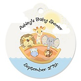 Noah's Ark - Personalized Boy Baby Shower Round Tags - 20 Count