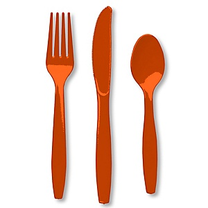 Orange - Baby Shower Forks, Knives, Spoons - 24 Count