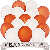 Orange and White - Party Latex Balloons - 16 ct
