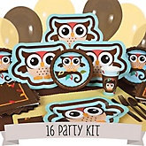 Owl - Look Whooo's Having A Baby - 16 Person Baby Shower Kit