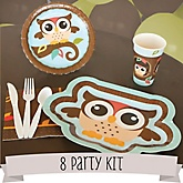 Owl - Look Whooo's Having A Baby - 8 Person Baby Shower Kit