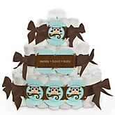 Owl - Look Whooo's Having A Baby - 3 Tier Personalized Square Baby Shower Diaper Cake