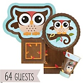 Owl - Look Whooo's Having A Baby - Baby Shower Tableware Bundle for 64 Guests