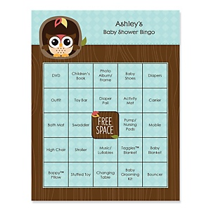 Owl - Look Whooo's Having A Baby - Bingo Personalized Baby Shower Games - 16 Count
