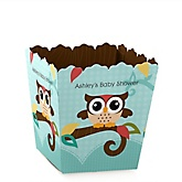 Owl - Look Whooo's Having A Baby - Personalized Baby Shower Candy Boxes