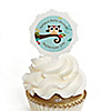 Owl - Look Whooo's Having A Baby - Personalized Party Cupcake Picks and Sticker Kit - 12 ct
