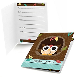 Owl - Look Whooo's Having A Baby - Baby Shower Fill In Invitations - 8 ct