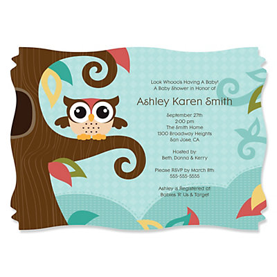 Owl - Look Whooo's Having A Baby - Personalized Baby Shower Invitations With Squiggle Shape Baby Shower Party Supplies