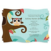 Owl - Look Whooo's Having A Baby - Personalized Baby Shower Invitations