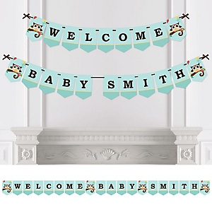 Owl - Look Whooo's Having A Baby - Personalized Baby Shower Bunting Banner