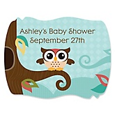 Owl - Look Whooo's Having A Baby - Personalized Baby Shower Squiggle Sticker Labels - 16 Count