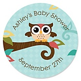 Owl - Look Whooo's Having A Baby - Personalized Baby Shower Round Sticker Labels - 24 Count
