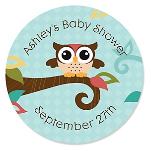 Owl - Look Whooo's Having A Baby - Personalized Baby Shower Sticker Labels - 24 ct