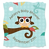 Owl - Look Whooo's Having A Baby - Personalized Baby Shower Tags - 20 Count