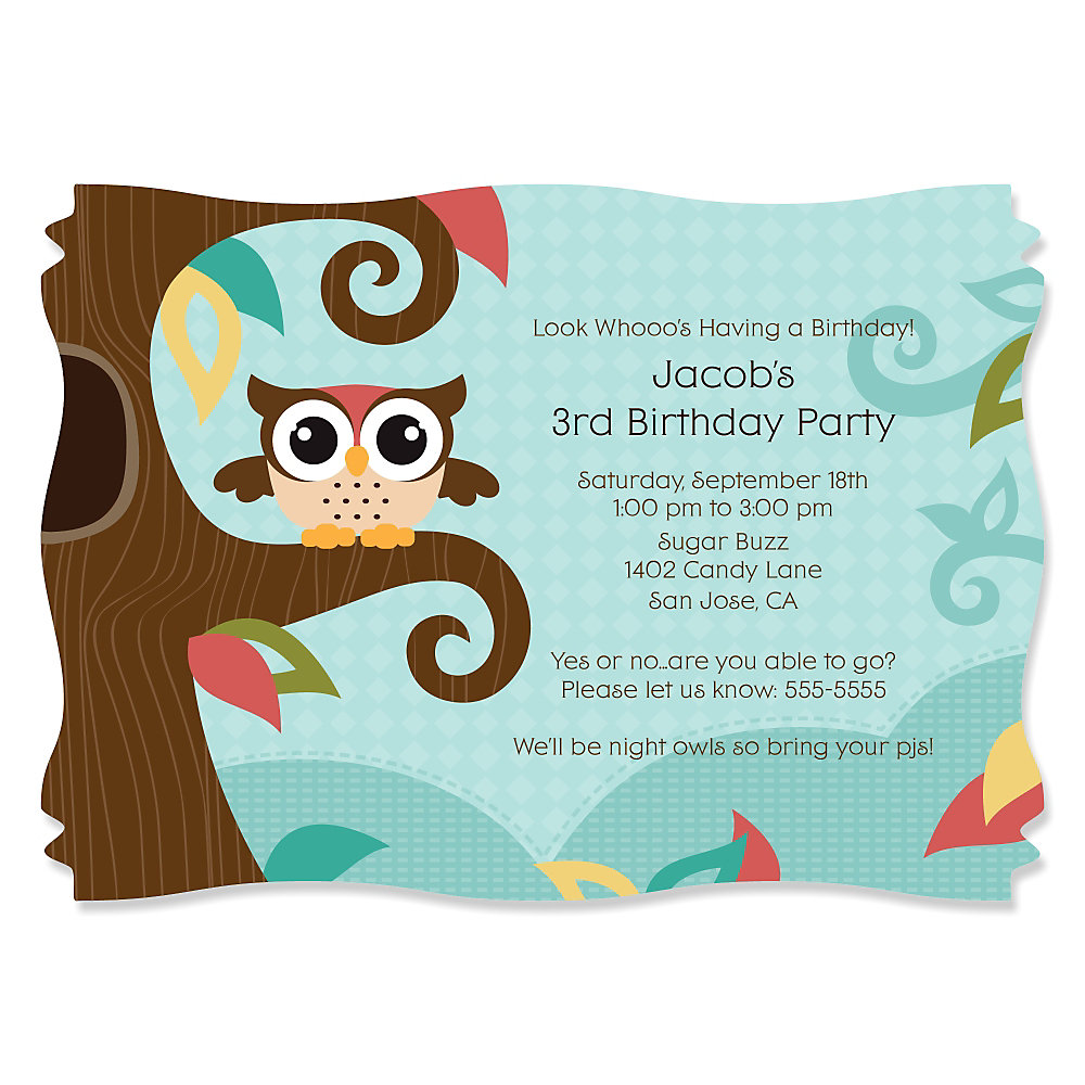 owl  look whooo's having a birthday  personalized birthday party, party invitations