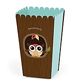 Owl - Look Whooo's Having A Party - Personalized Party Popcorn Favor Boxes